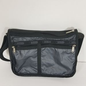 LeSportsac black messenger travel bag